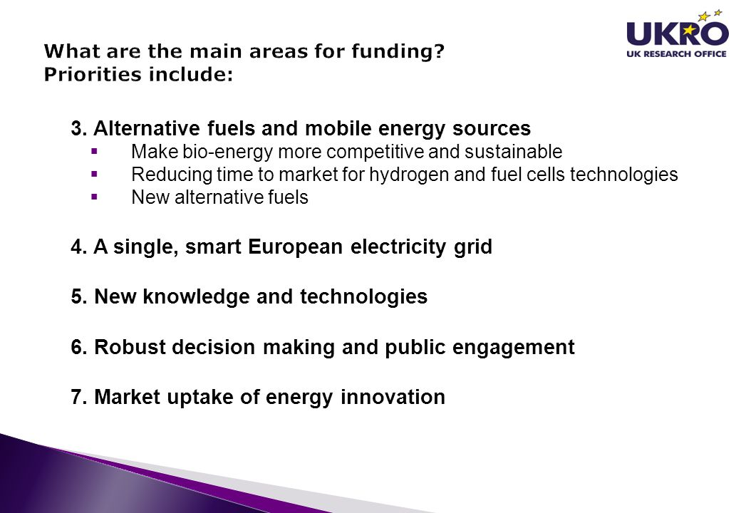 What are the main areas for funding Priorities include: