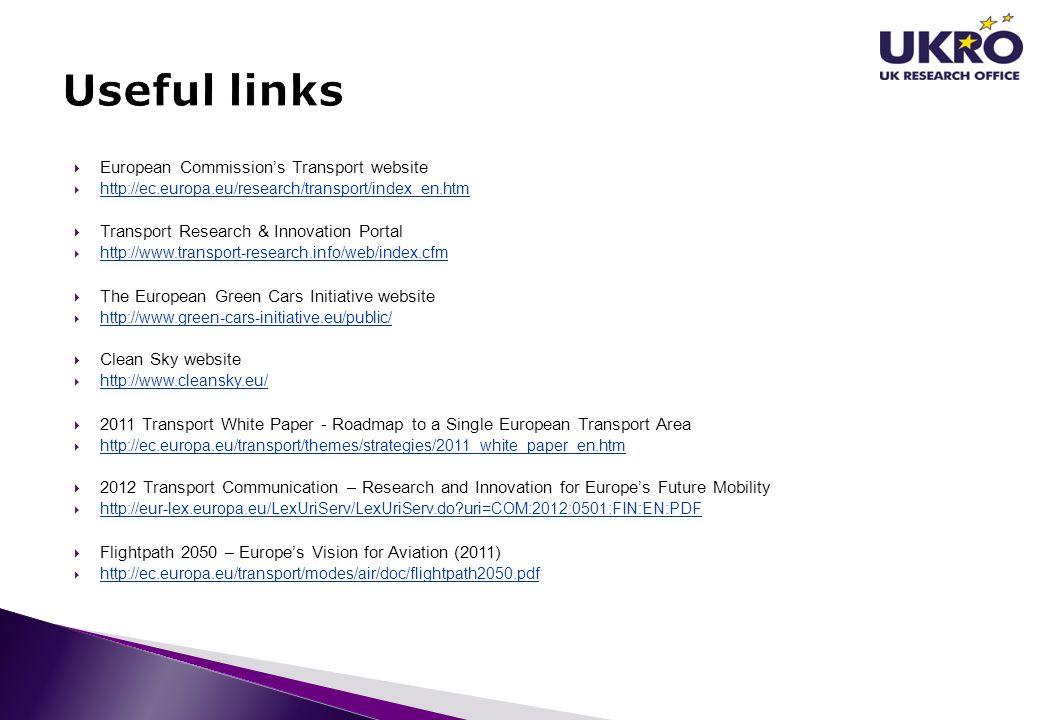 Useful links European Commission's Transport website