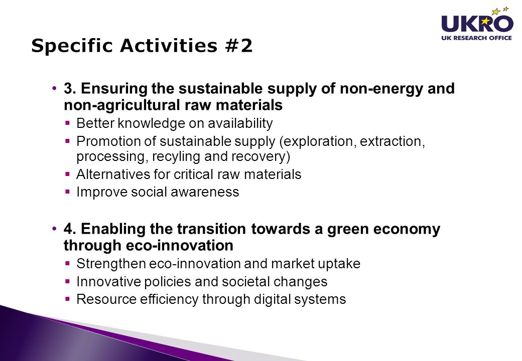 Specific Activities #2 3. Ensuring the sustainable supply of non-energy and non-agricultural raw materials.