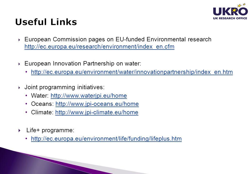 Useful Links Life+ programme: