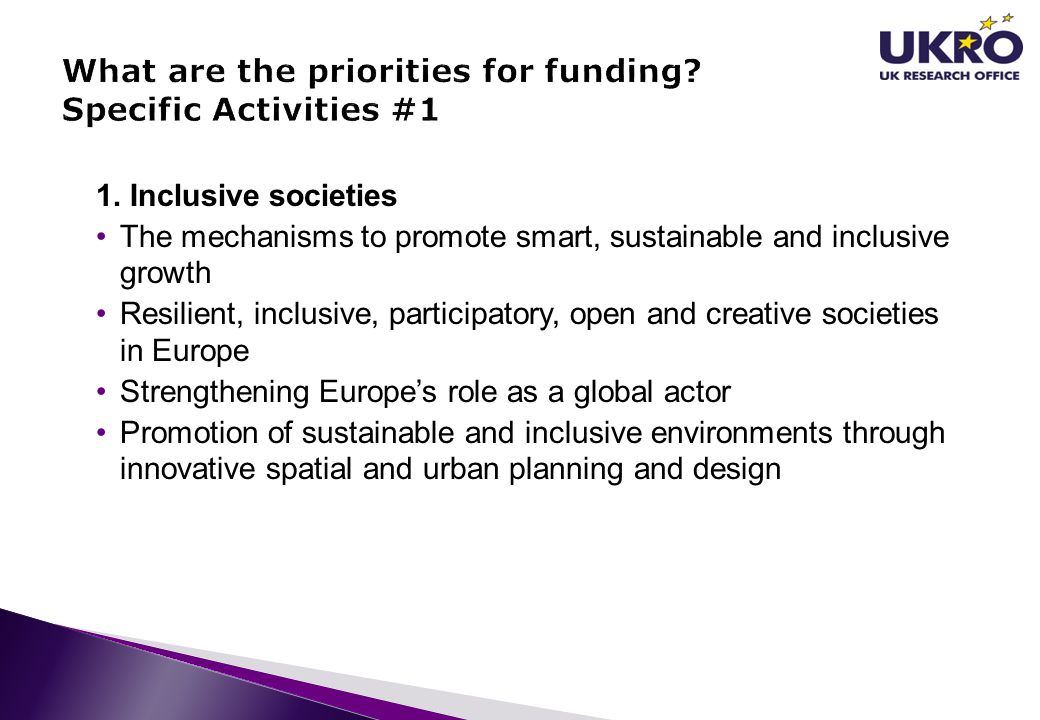 What are the priorities for funding Specific Activities #1