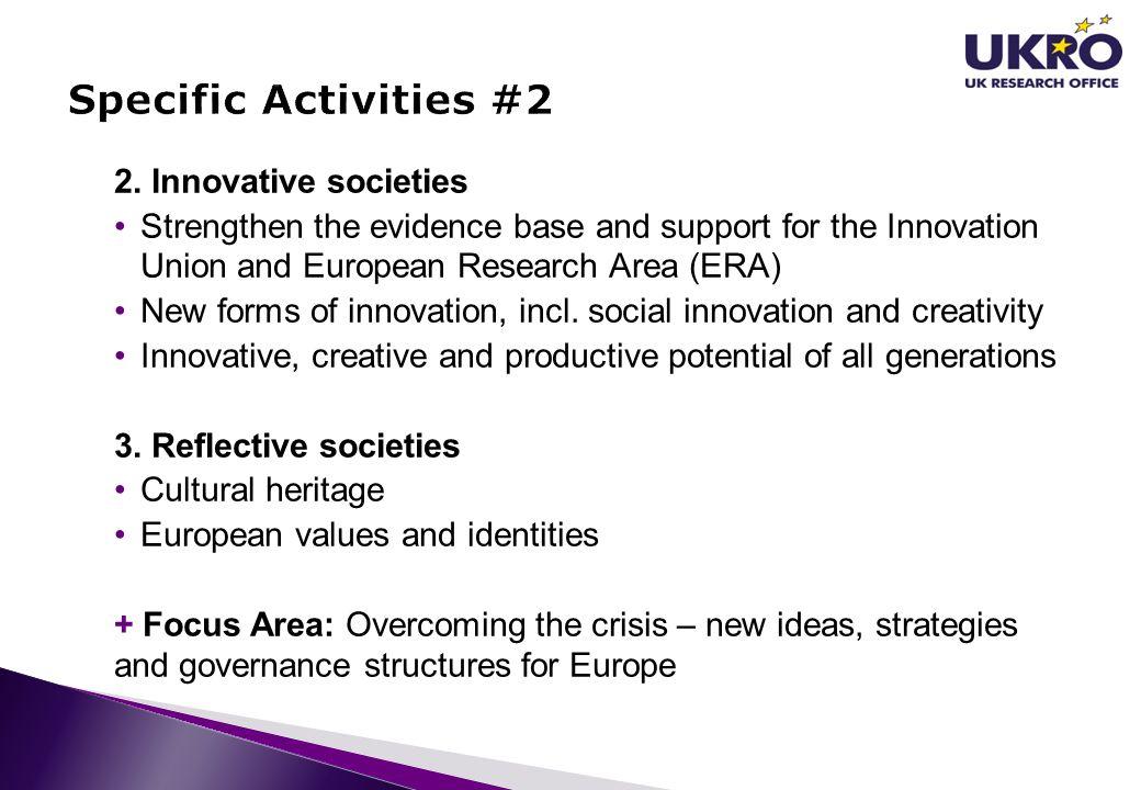 Specific Activities #2 2. Innovative societies