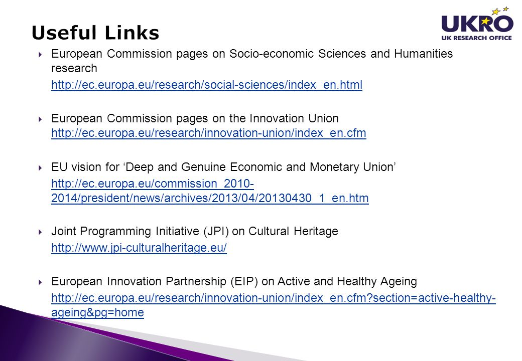 Useful Links European Commission pages on Socio-economic Sciences and Humanities research.