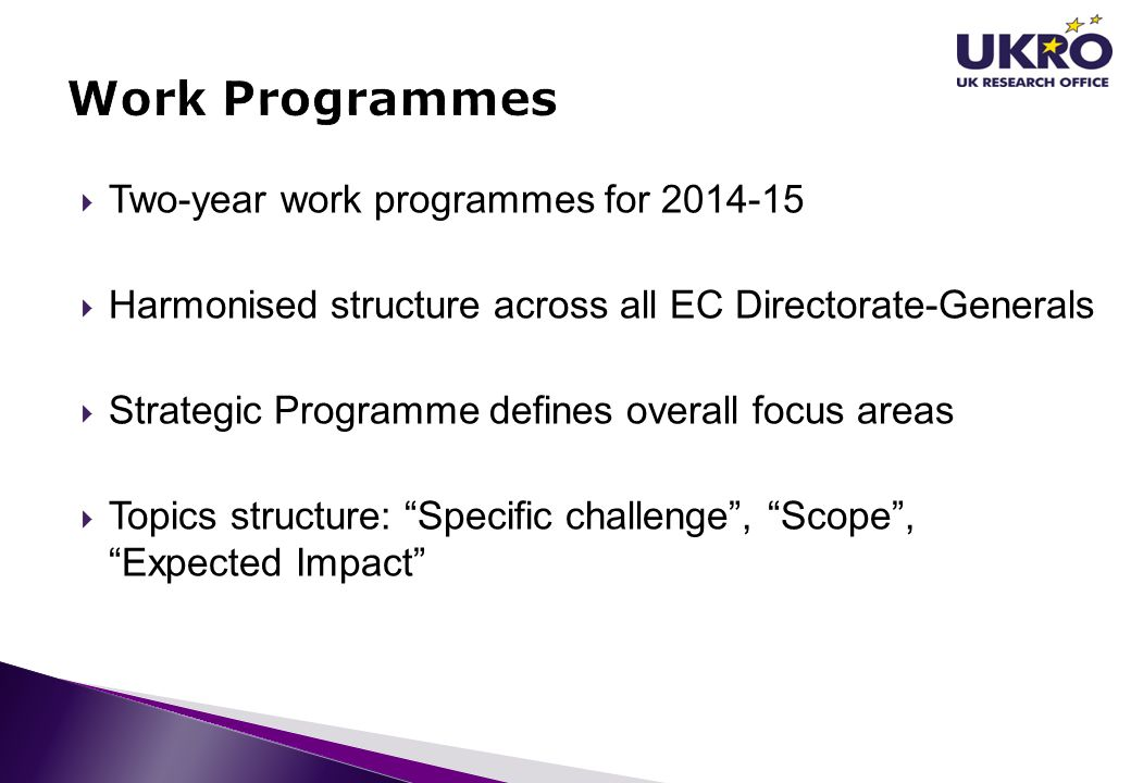 Work Programmes Two-year work programmes for 2014-15