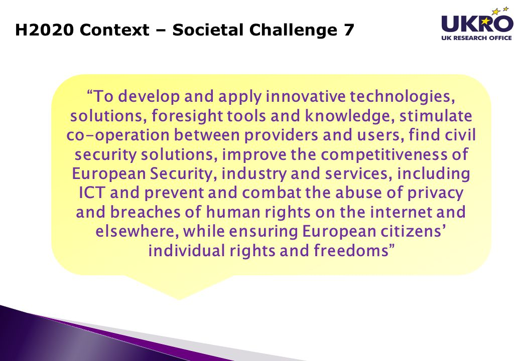 H2020 Context – Societal Challenge 7