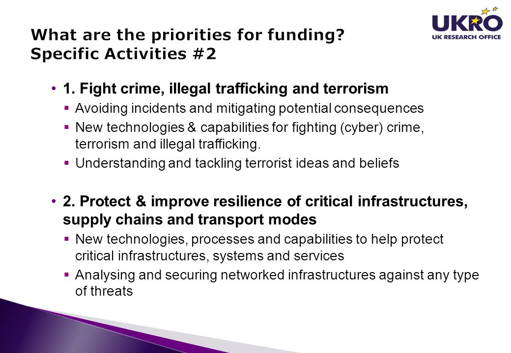 What are the priorities for funding Specific Activities #2