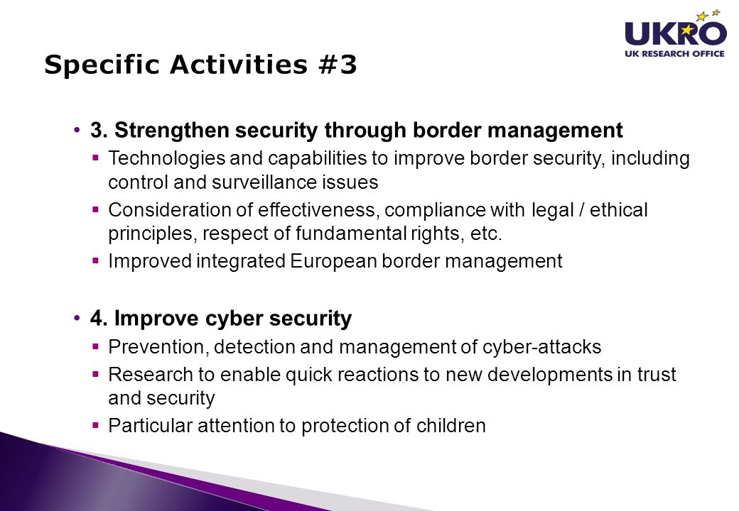 Specific Activities #3 3. Strengthen security through border management.