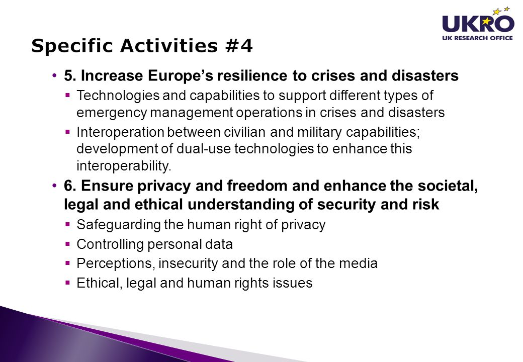Specific Activities #4 5. Increase Europe's resilience to crises and disasters.