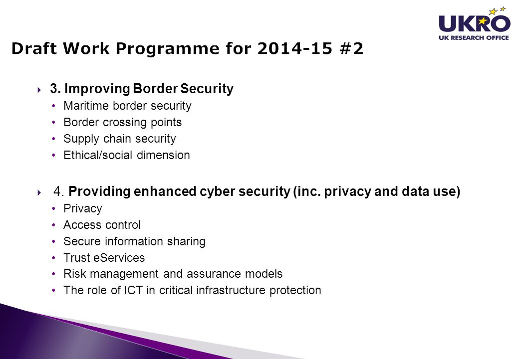 Draft Work Programme for 2014-15 #2
