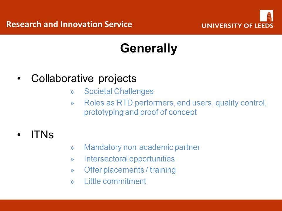 Generally Collaborative projects ITNs Research and Innovation Service