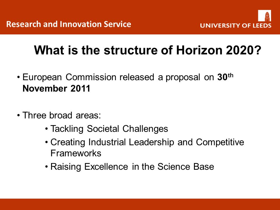 What is the structure of Horizon 2020