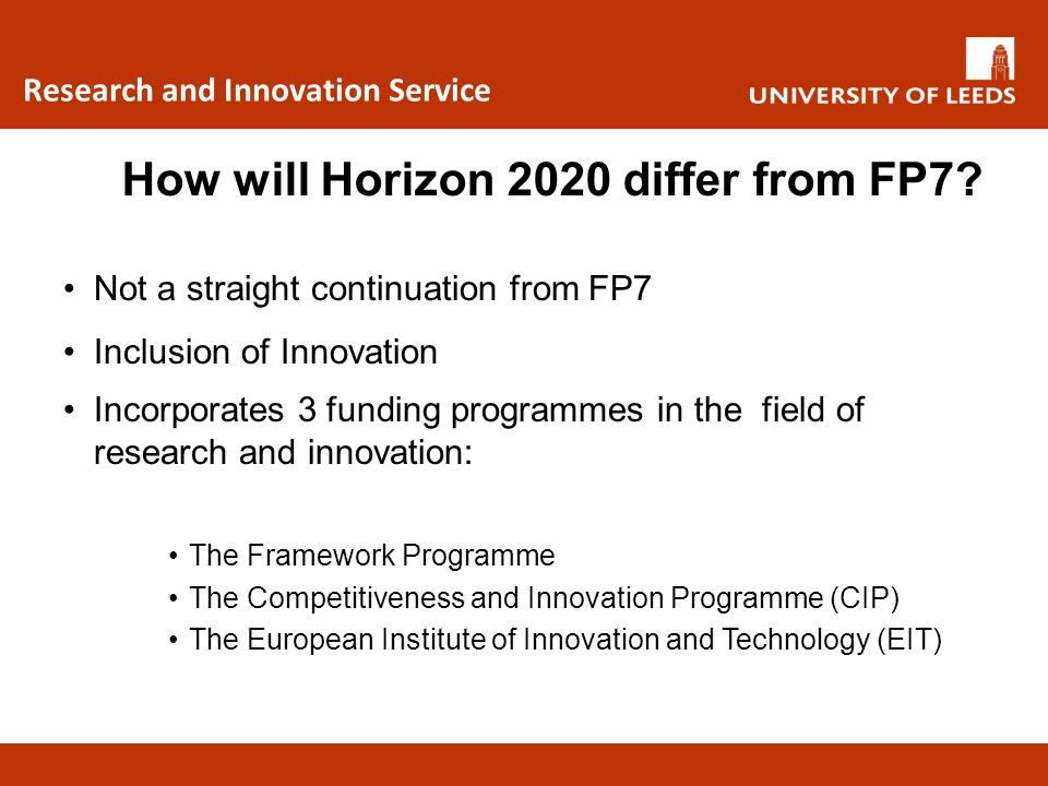 How will Horizon 2020 differ from FP7