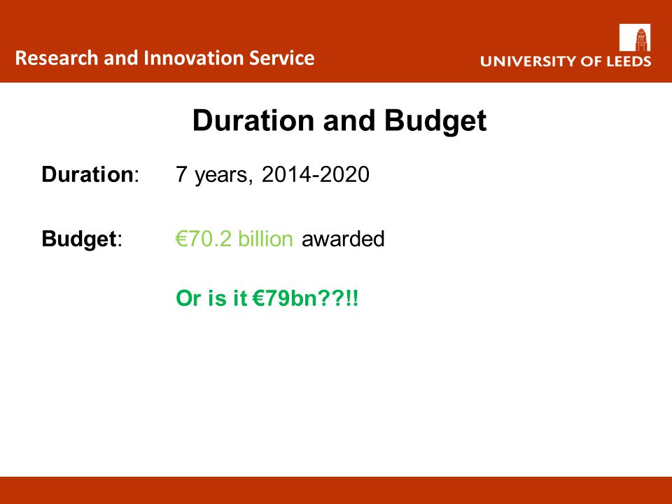 Duration and Budget Research and Innovation Service