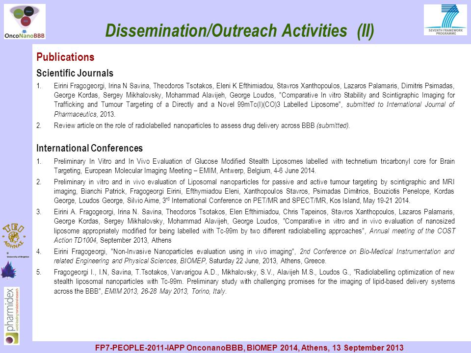 Dissemination/Outreach Activities (II)