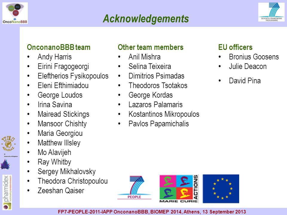 Acknowledgements OnconanoBBB team Andy Harris Eirini Fragogeorgi