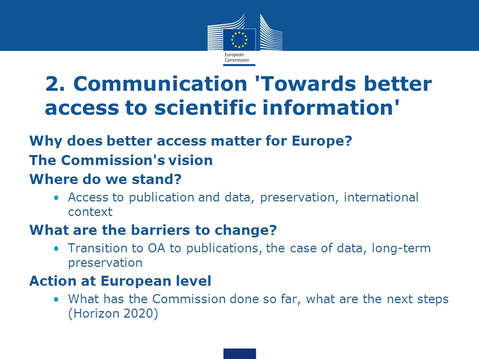 2. Communication Towards better access to scientific information