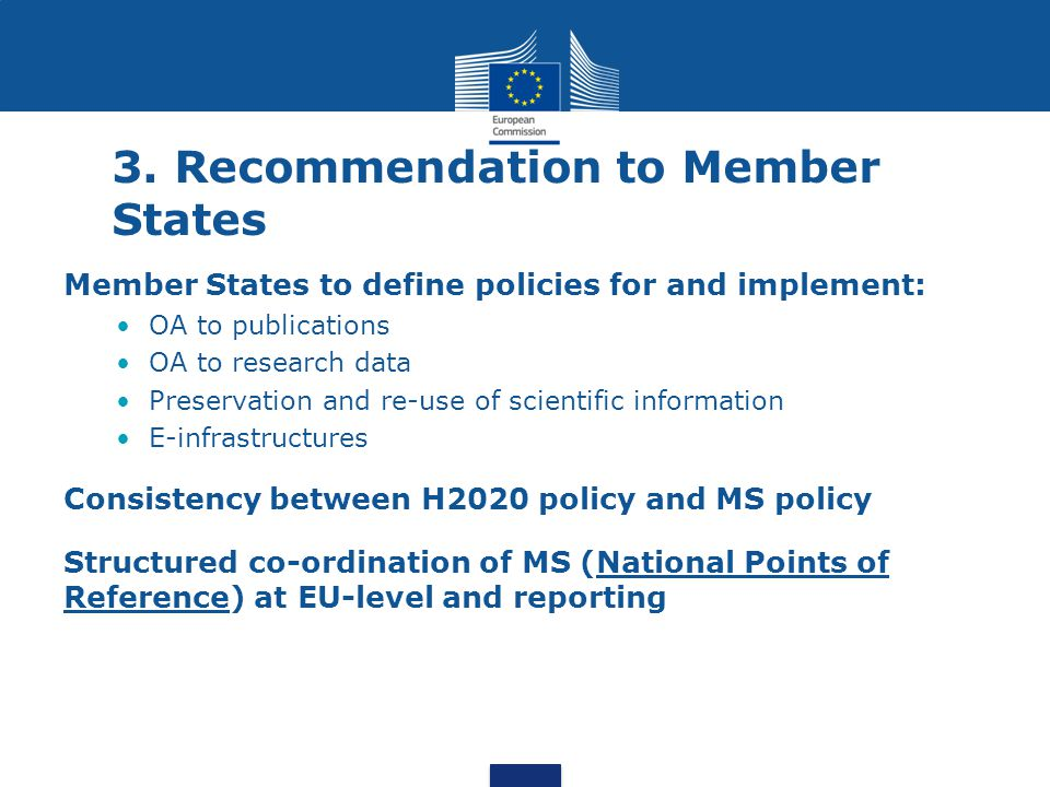 3. Recommendation to Member States