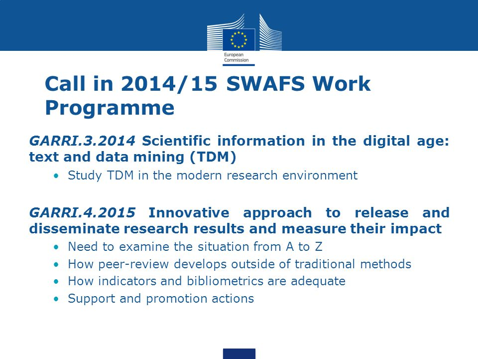 Call in 2014/15 SWAFS Work Programme