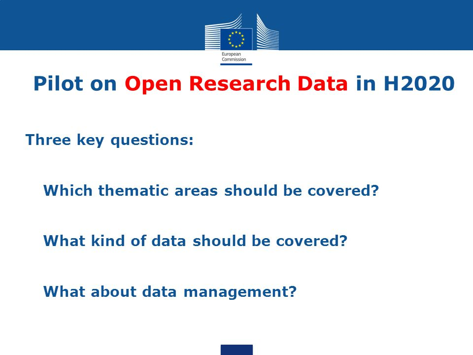 Pilot on Open Research Data in H2020