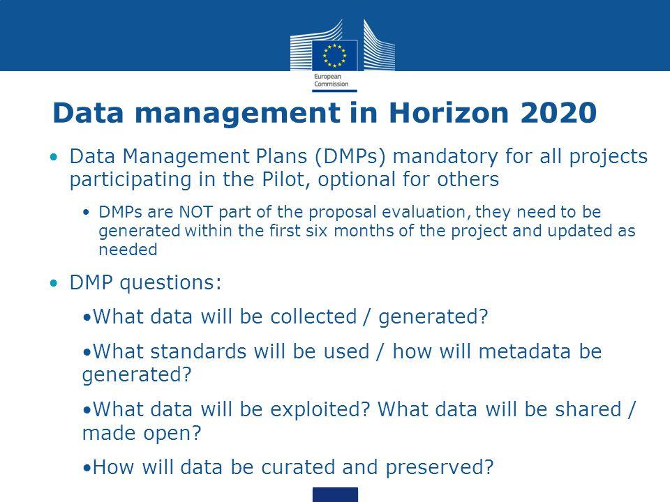 Data management in Horizon 2020