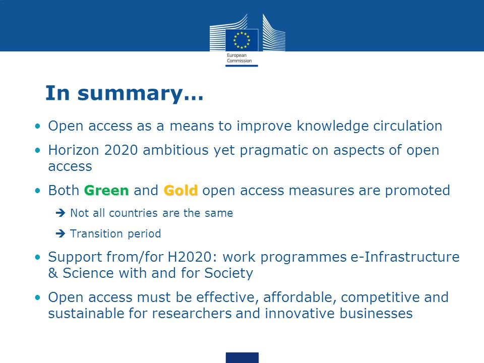 In summary… Open access as a means to improve knowledge circulation