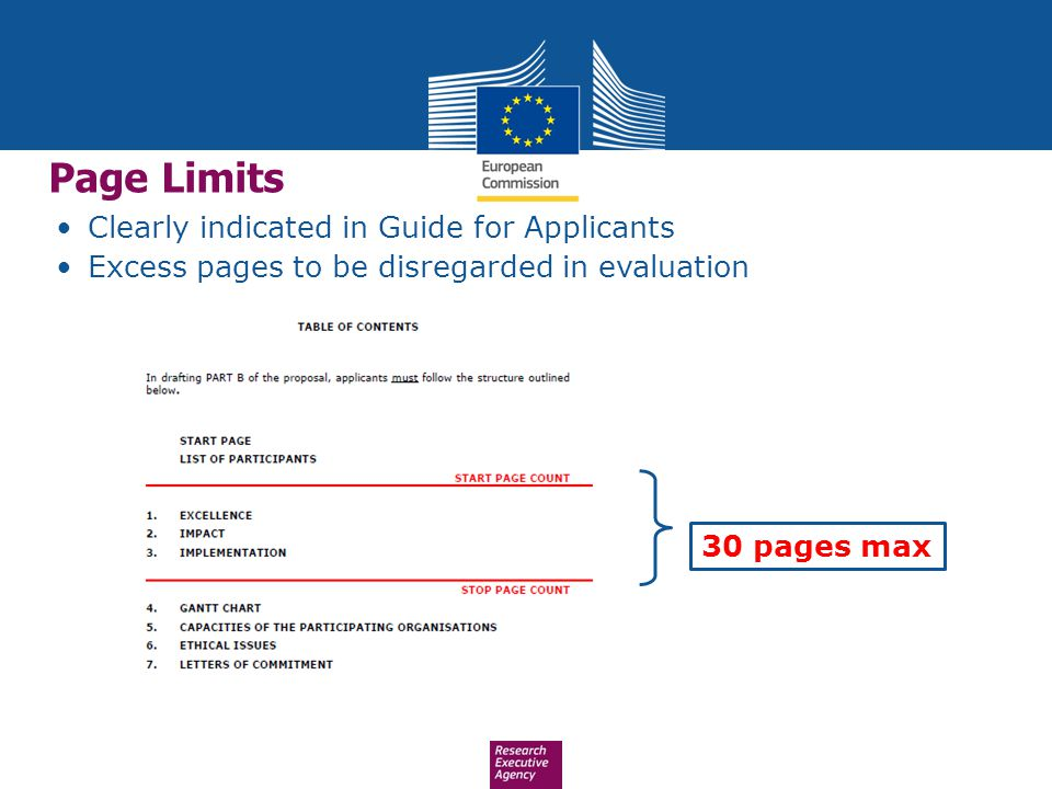 Page Limits Clearly indicated in Guide for Applicants