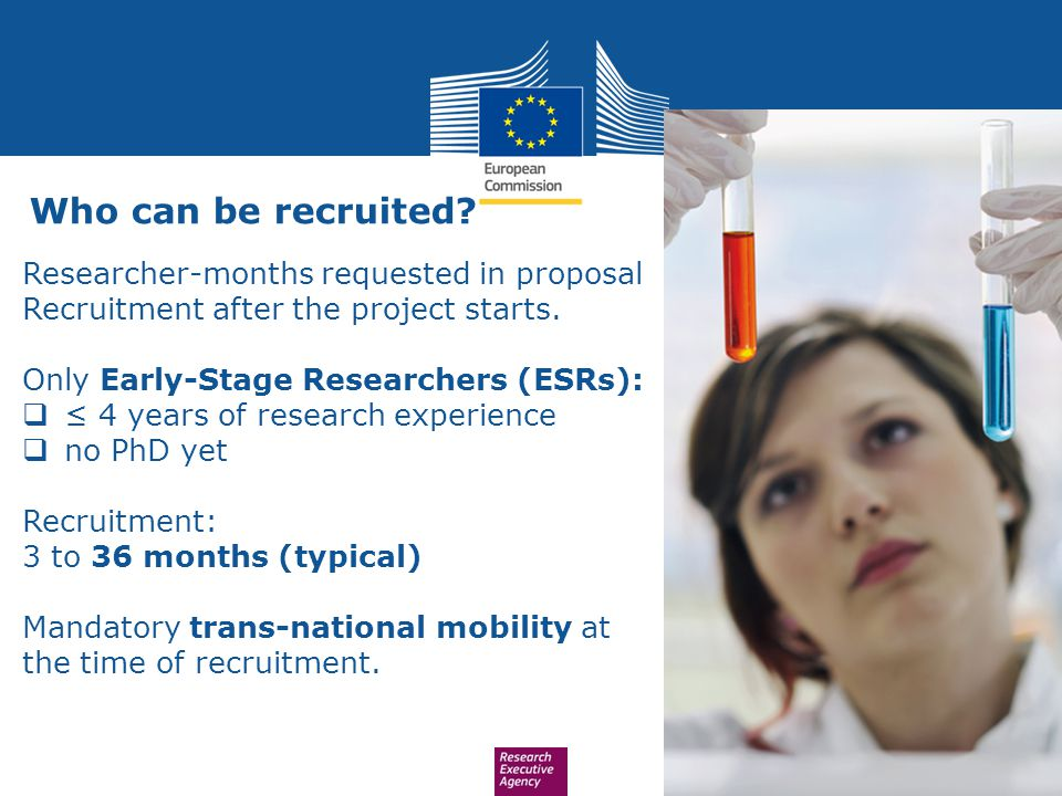 Who can be recruited Researcher-months requested in proposal