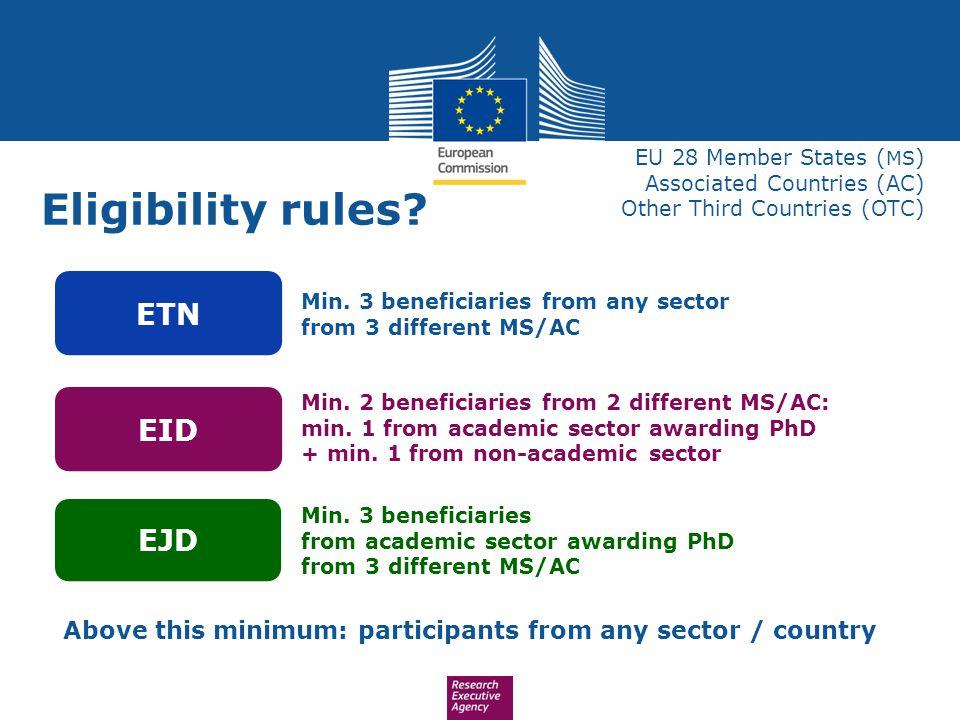 Eligibility rules ETN EID EJD
