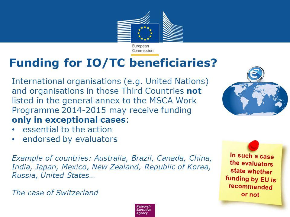 Funding for IO/TC beneficiaries