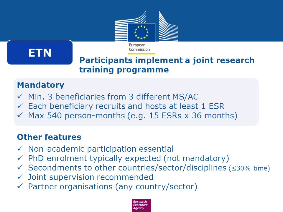 ETN Participants implement a joint research training programme