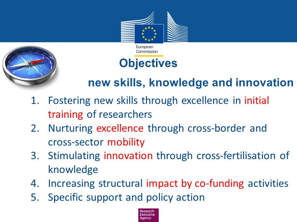 Objectives new skills, knowledge and innovation. Fostering new skills through excellence in initial training of researchers.
