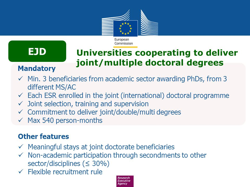 EJD Universities cooperating to deliver joint/multiple doctoral degrees. Mandatory.