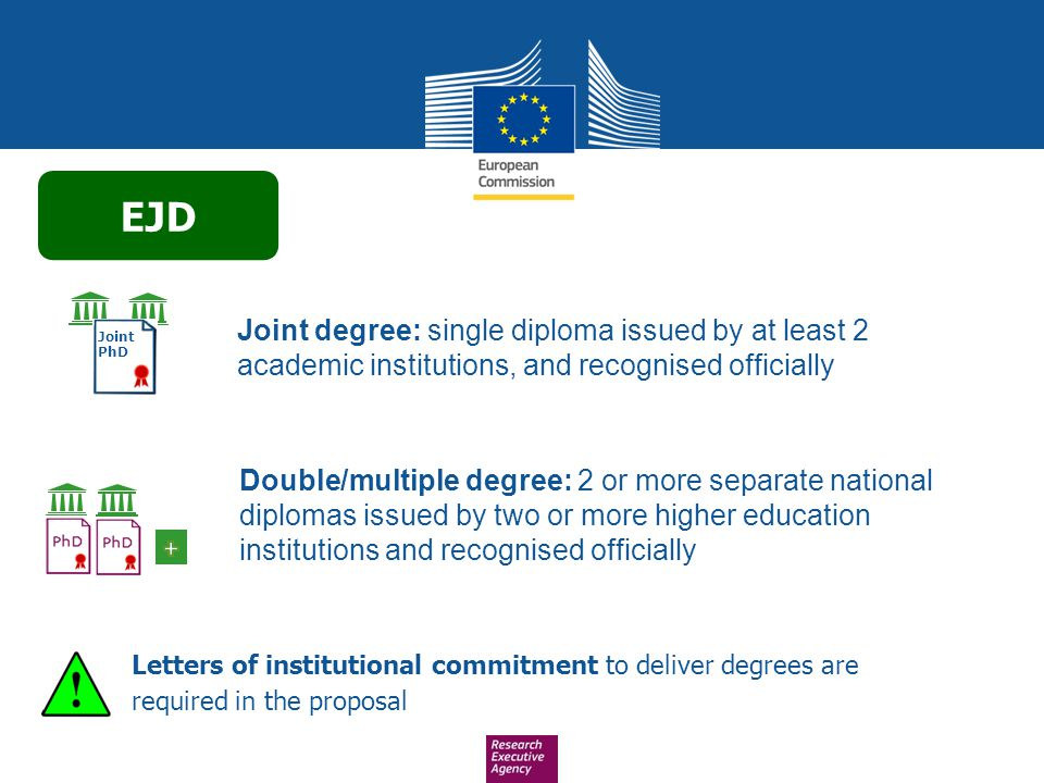 EJD Joint degree: single diploma issued by at least 2 academic institutions, and recognised officially.