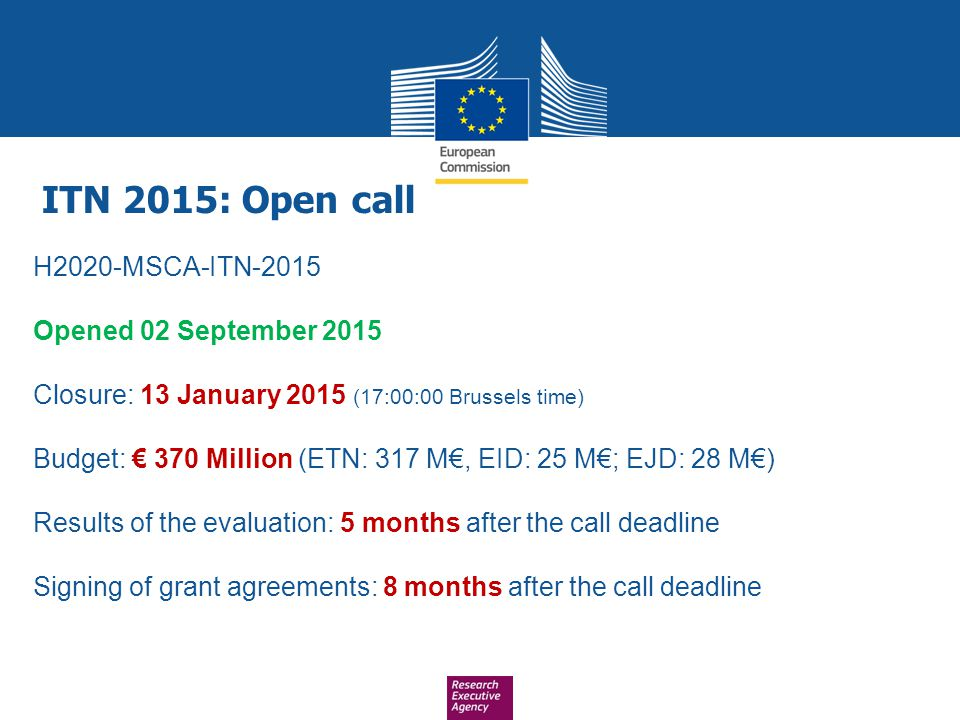 ITN 2015: Open call H2020-MSCA-ITN-2015 Opened 02 September 2015
