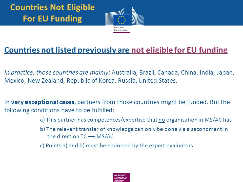 Countries Not Eligible For EU Funding