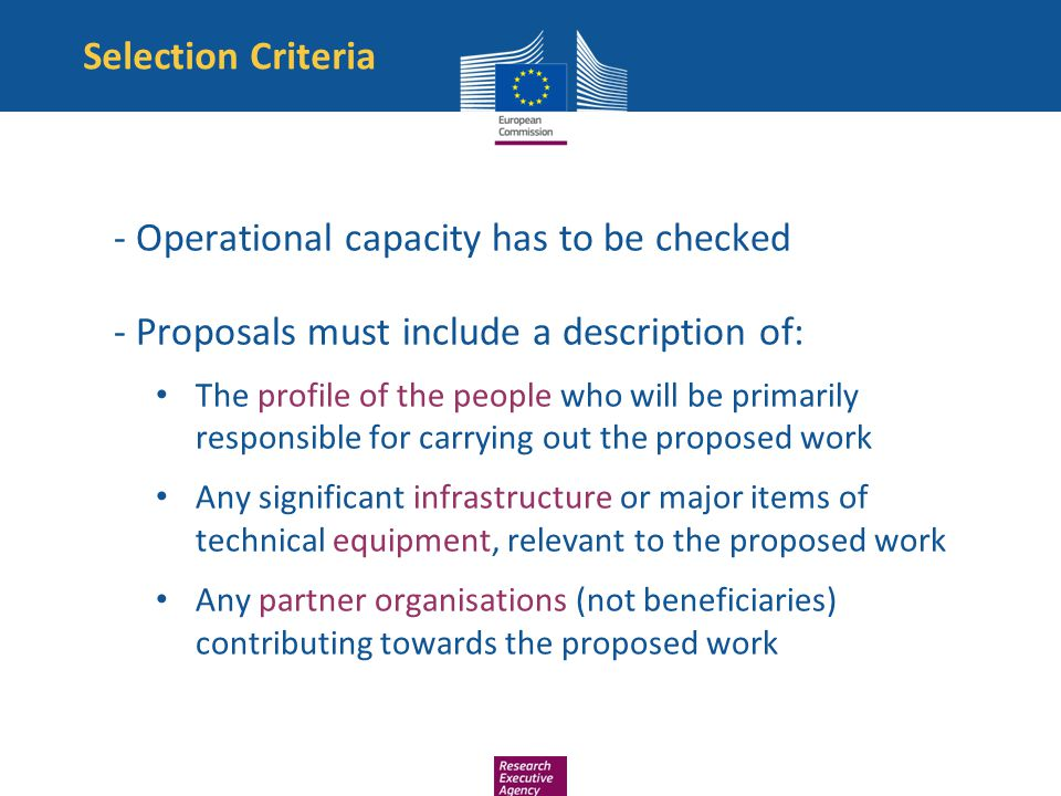 - Operational capacity has to be checked