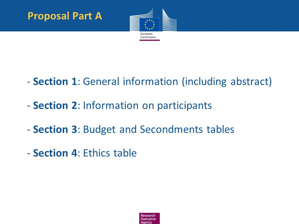 Proposal Part A - Section 1: General information (including abstract) - Section 2: Information on participants.