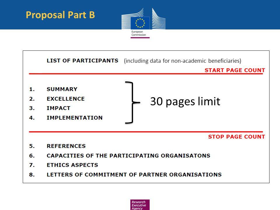 30 pages limit Proposal Part B