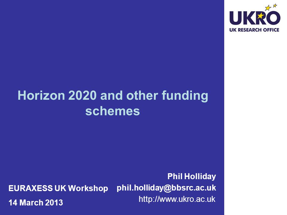 Horizon 2020 and other funding schemes