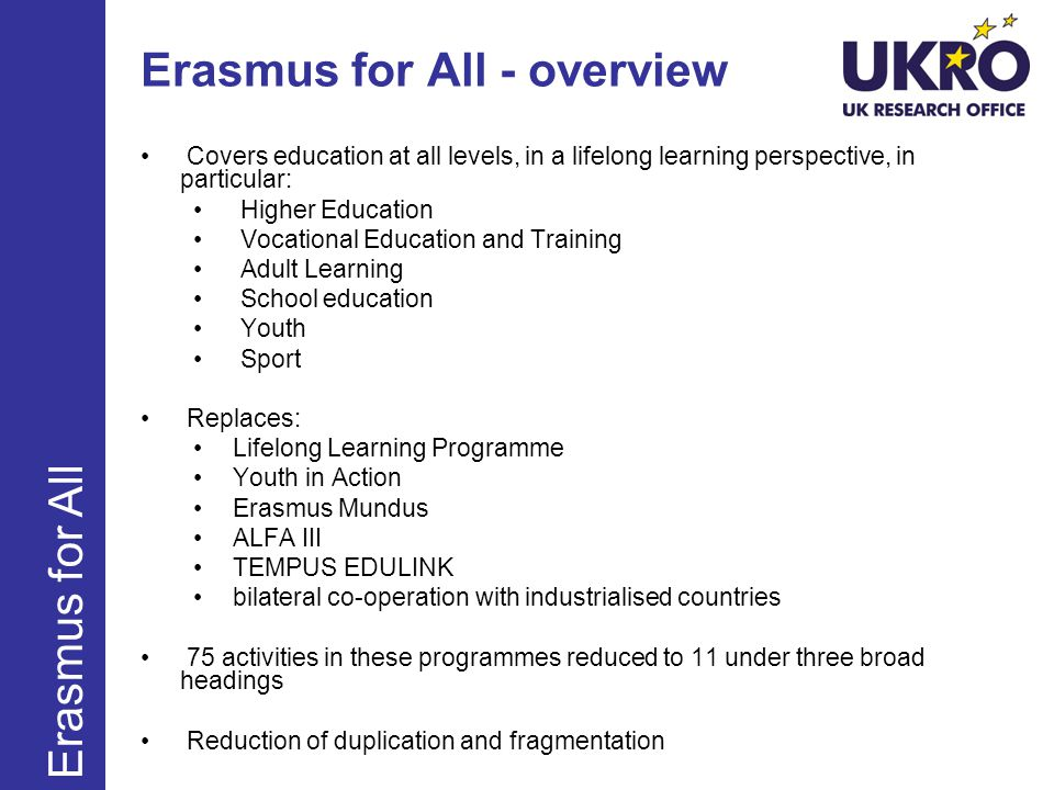 Erasmus for All - overview