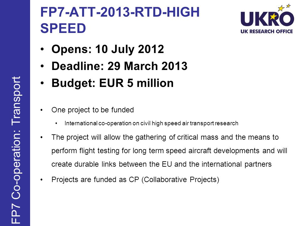 FP7-ATT-2013-RTD-HIGH SPEED
