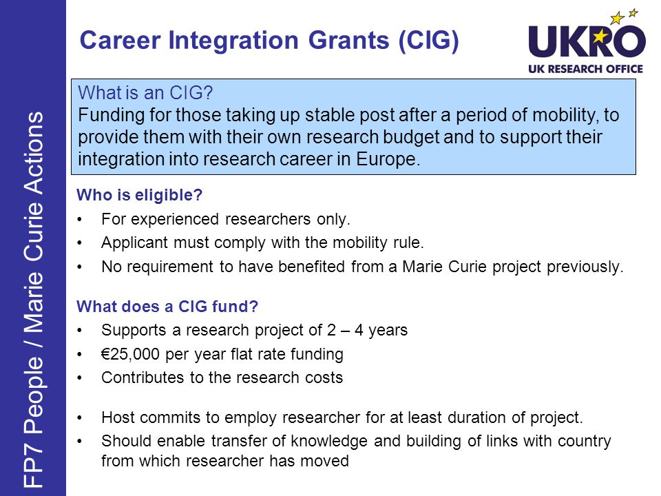 Career Integration Grants (CIG)