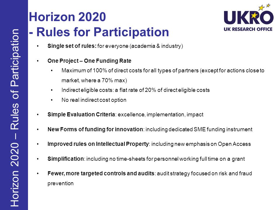 Horizon 2020 - Rules for Participation