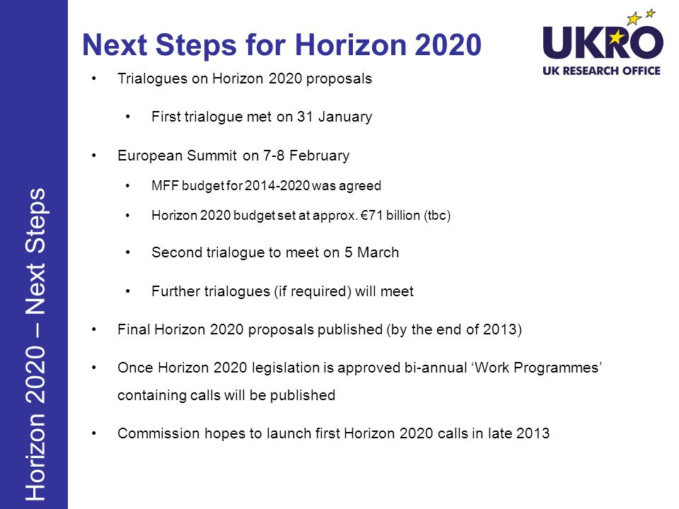 Next Steps for Horizon 2020 Horizon 2020 – Next Steps