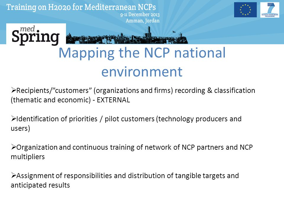 Mapping the NCP national environment