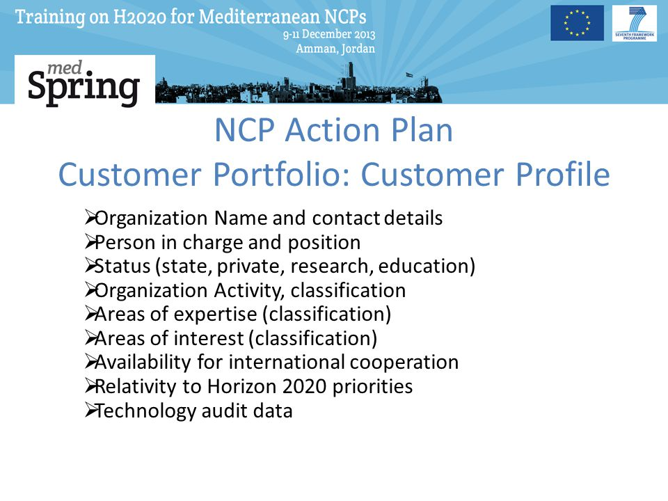 NCP Action Plan Customer Portfolio: Customer Profile