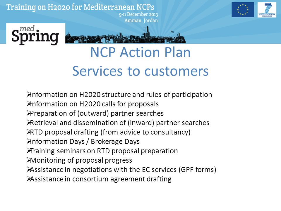 NCP Action Plan Services to customers