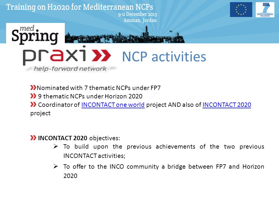 NCP activities Nominated with 7 thematic NCPs under FP7