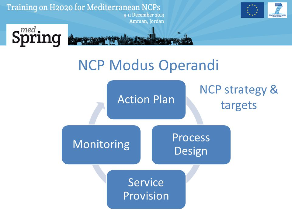 NCP Modus Operandi NCP strategy & targets Action Plan Process Design