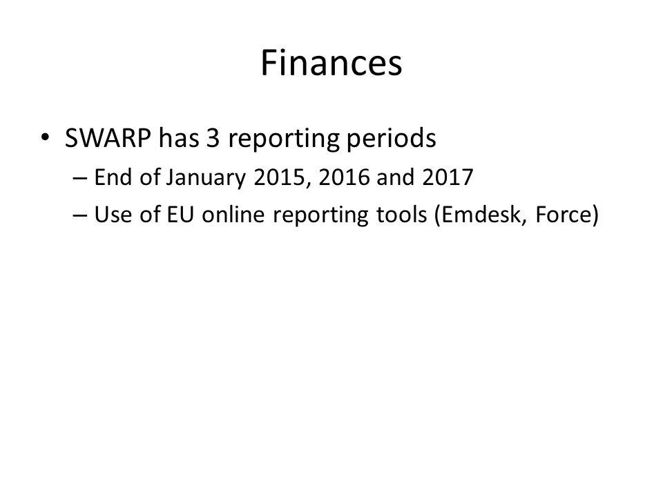 Finances SWARP has 3 reporting periods
